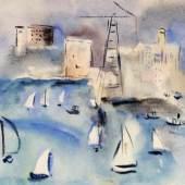 Edgar Jené (Saarbrücken 1904-1984 La Chapelle St. André) Segelboote vor einer Küstenstadt, 1930, Aquarell, 35 x 48,5 cm, Schätzpreis:800 EUR