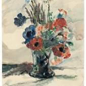 Lovis Corinth (Tapiau/Ostpreußen 1858 – 1925 Zandvoort) Vase mit Blumen. 1925 Aquarell auf festem Velin. 63,5 × 47,6 cm ( 25 × 18 ¾ in.). Unten mittig mit Feder signiert und datiert: Lovis Corinth 1925.  Schätzpreis:100.000 - 150.000 EUR