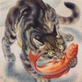Norbertine Bresslern-Roth*  Fischende Katze, 1962 Öl auf Jute, 50 x 50 cm Schätzpreis:50.000 - 100.000 EUR