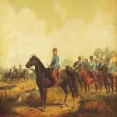 """Major August Ritter von Maly. Geboren 1830 - 1896. """"Albrecht von Österreich mit Gefolge"""".  Mindestpreis:3.000 EUR"""