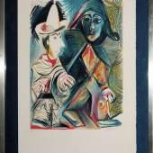 """Pablo Picasso, """"Le Clown et l'Harlequin"""", signierte Farboffsetlithographie, um 1970, gerahmt Aufrufpreis:1.900 EUR Schätzpreis:7.000 - 8.000 EUR"""