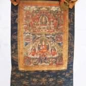 Thangka mit Vorhang. Asien, wohl Ende 18./19. Jahrhundert. Rollbild des tantrischen Buddhismus.  Mindestpreis:120 EUR