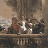 Adolph Menzel Im Freien (Mädchen auf einem Altan) Aquarell mit Deckweiß über leichter Bleistiftvorzeichnung auf leichtem, ehemals chamoisfarbenen Karton. 1852. 25 x 32,6 cm.  Schätzpreis:150.000 EUR