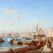 """Serritelli, Giovanni 1809 - 1880, italienischer Veduten- und Marinemaler. """"Hafenszene in Neapel"""", Mindestpreis:12.500 EUR"""