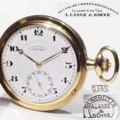 Savonett/Taschenuhr Glashütte Lange & Söhne. 585er Gelbgold. Ø ohne Krone 5,1 cm. Guter gepflegter Zustand, Gewicht ca. 95,5 Gramm. Mindestpreis:2.700 EUR