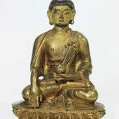 Buddha-Statue. Nepal, 19./20. Jahrhundert. Kupferbronze 24 Karat vergoldet. Mindestpreis:150 EUR
