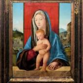 Giovanni Bellini – Werkstatt, Venedig um 1490, Tafelbild der Madonna mit Kind, Schätzpreis:30.000 - 35.000 EUR