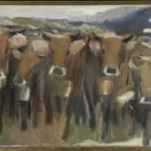 "Lipp, Kilian, 1953 Hindelang Öl/Lwd, 80 x 140 cm, "" Kuhherde "", u.r. sign., dat. (19)95, Lit.: Kühling Mindestpreis:5.000 EUR"
