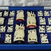 """Elfenbein-Schachspiel """"Alt-Indien"""" um ca. 1975, komplett im Koffer. Mindestpreis:1.200 EUR"""