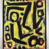 """A.R. Penck, d.i. Ralf Winkler (1939-2017), bedeutender deutscher Nachkriegskünstler, typische Zeichenkomposition """"Ohne Titel"""", um 1990,Acryl/Lwd., sign. r. u. """"ar. penck"""", 72 x 60,5 cm, ger. 80 x 70 cm, Provenienz: Privatsammlung Italien, Dobiaschofsky Auktionen. Mindestpreis:12.000 EUR"""