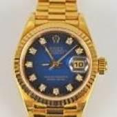 DAMEN-ROLEX Oyster Perpetual Date Just, Chronometer, Automatik, Goldgehäuse mit passendem Goldarmband 18ct, Mindestpreis:6.000 EUR