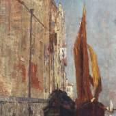 """Tina Blau 1845 Wien - 1916 Wien - """"Venedig"""" - Öl/Lwd. Doubl. 67,5 x 41,5 cm. Sign. r. u.: Tina Blau (nachträglich, möglicherweise von fremder Hand).  Aufrufpreis:15.000 EUR Schätzpreis:30.000 EUR"""