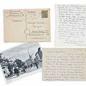Borchert, Wolfgang (Schriftsteller; Hamburg 1921 - 1947 Basel). 4 eigenhändige Postkarten (jeweils mit Unterschrift) an Heinrich Christian Meier aus dem Jahr 1947. 3 Postkarten eigenhändig datiert: 23.I.47; 27 III (1947); 8 VI (1947) und 1 Postkarte mit (schwer lesbarem) Poststempel vom 13.7(?).1947.- 2 Postkarten mit gestempelter Briefmarke '10 Pfennig' mit Hamburger Poststempel, davon 1 Postkarte mit dem Poststempel: 'Gedenke der Opfer des Nazi-Regimes'. Schätzpreis:4.000 EUR