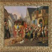 """Rentzell, August von, 1810 Marienwerder - 1891 Berlin Öl/Lwd, doubl., 50 x 56,5 cm, rücks. betit. """" Brautfahrt in einer kleinen böhmischen Stadt """",  Mindestpreis:4.800 EUR"""