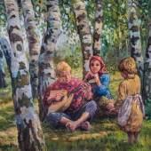 Nikolai Petrowitsch Bogdanoff-Belsky (Attr.) 1868 Skitiki - 1945 Berlin Balalaika spielender Junge mit zwei Mädchen, Schätzpreis:5.000 - 6.000 EUR