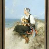 """Seeger, Hermann, 1857 Halberstadt - 1945 Öl/Lwd, doubl., 90 x 72 cm, """" Mädchen mit Gitarre am Strand """",  Mindestpreis:4.800 EUR"""