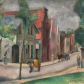 Friedrich Ahlers-Hestermann (Hamburg 1883 - Berlin 1973) Bad Oldesloe Öl/Lw., 52,5 x 67,5 cm Mindestpreis:8.500 EUR