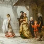 Albert Anker (1831–1910) Die Taufe 1864 Öl auf Leinwand 85,5 x 129 cm Schätzpreis:1.200.000 - 1.500.000 CHF