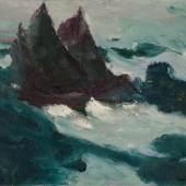"""Emil Nolde (Nolde 1867 – 1956 Seebüll) """"Bewegte See II (Zwei Segler aneinander)"""". 1914 Öl auf Leinwand. 73 × 88,5 cm ( 28 ¾ × 34 ⅞ in.). Schätzpreis:1.000.000 - 1.500.000 EUR Zuschlagspreis:1.000.000 EUR"""