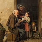 Ferdinand Georg Waldmüller  Die milde Gabe, 1850 Öl auf Holz, 35 x 30 cm Schätzpreis:250.000 - 350.000 EUR