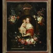 """Ykens, Frans, 1601 Antwerpen - 1693 Öl/Lwd, doubl., 114,5 x 94 cm, """" Madonna in einer steinernen Kartusche mit Blumen """" Mindestpreis:6.000 EUR"""