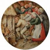 Brueghel d.J., Pieter 1564 - 1636 Antwerpen Rundbild mit Wiedergabe eines niederländischen Sprichwortes Öl auf Holz. Durchmesser: ca. 19 cm.  Schätzpreis:90.000 - 120.000 EUR