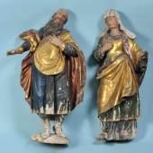 Figurenpaar - Hl. Anna und Hl. Joachim Holz, farbig gefasst (berieben), H= 75 cm, 18. Jh., leicht besch. Mindestpreis:700 EUR