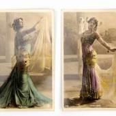Twee ansichtkaarten met afbeelding van Mata-Hari als danseres, Schätzpreis:100 - 150 EUR