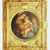 """Italienischer Altmeister. 19. Jahrhundert. """"Madonna mit Kind und dem Heiligen Johannes der Täufer"""". Mindestpreis:900 EUR"""