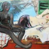 Josef Steiner, Junges Paar, Ölgemälde, 1945 Josef Steiner, 1899 – 1977, Hellhäutige Frau mit entblößtem Oberkörper auf einem Bett liegend, neben ihr auf dem Bett sitzend ein unbekleideter, dunkelhäutiger Mann