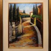 "Ottone Rosai, ""Stradina del Monte alle Croci"", (Strada in curva con cipressi), Ölgemälde um 1950, Aufrufpreis:1.500 EUR Schätzpreis:8.000 - 9.000 EUR"