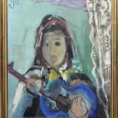 """Josef Steiner, """"Junge Schöne mit Gitarre"""", Ölgemälde, 1945 Mindestpreis: 450,- EUR"""