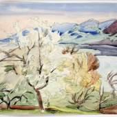Erich Heckel 1883 Döbeln - 1970 Hemmenhofen Landschaft am See Aquarell auf Karton, 1949; H 310 mm, B 430 mm Schätzpreis:4.000 - 6.000 EUR