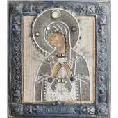 """Ikone """"Maria, Mutter der Schmerzen"""" mit Silberbasma. Russland, 19. Jahrhundert.  Mindestpreis:500 EUR"""