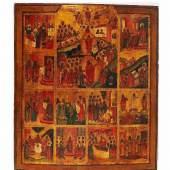 Dekorative russische Festtagsikone. Südrussische Arbeit um 1820/70. Mindestpreis:300 EUR