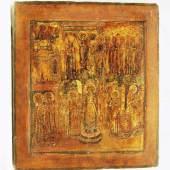 """Russische Ikone. """"Gottesmutter Pokrow"""". Zentralrussische Arbeit aus der Zeit um 1700. In der oberen Bildhälfte der segnende Christus Mindestpreis:900 EUR"""