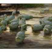 Alexander Koester, 1864 Bergneustadt - 1932 München 17 ENTEN AM SEEUFER Öl auf Leinwand. 71 x 105 cm. Schätzpreis:50.000 - 60.000 EUR