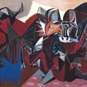 Fritz Kronenberg (Köln 1901 - Hamburg 1960) Tibetisches Theater Öl/Lw., 120 x 150 cm Mindestpreis:4.500 EUR