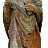 Heiliger Bischof, frühes 16.Jhd. Große Figur aus Lindenholz geschnitzt. Aufrufpreis:1.800 EUR