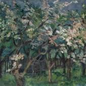 Heinrich Nauen Blühende Obstbäume, Schätzpreis:10.000 - 15.000 EUR Zuschlagspreis:17.000 EUR