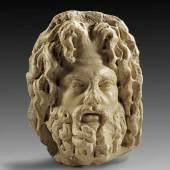 Kopf eines bärtigen Gottes. Römische Kaiserzeit, Ende 2. Jh. / Anfang 3. Jh. n. Chr. Aufrufpreis:25.600 EUR