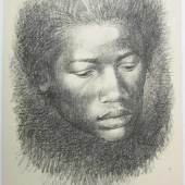 """White, Charles (1918 Chicago – 1979 Los Angeles) """"Young woman"""" Lithografie, unten rechts signiert, 1967, unten links Auflage: PP VI und betitelt, Maße: 28,1 x 19,2 cm (Bl.)  Aufrufpreis:1.500 EUR"""