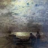 """Douzette, Louis (1834 Tribsees – 1924 Barth)  """"Fischer im Mondlicht"""", Aufrufpreis:3.800 EUR"""