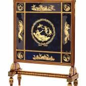 Bedeutender Paravant, Ramón Lletget, zug. 110,5 x 73 x 25,5 cm. Spanien, Carlos IV, um 1800. Caoba-Mahagonie mit Ormolu-Einlagen, Glas mit hochfeinem Eglomisé-Dekor vor königsblauem Fond, rückwärtiges Spiegelglas. Schätzpreis:30.000 - 50.000 EUR