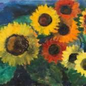 """Emil Nolde (Nolde 1867 – 1956 Seebüll) """"Leuchtende Sonnenblumen"""". 1950 Öl auf Leinwand. 68,5×89 cm ( 27×35 in.). Schätzpreis:800.000 - 1.200.000 EUR"""