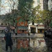 Piotr (Pierre) Alexandrovich Nilouss 1869 - 1943 In der Ukraine geborener Post-Impressionist; tätig in Paris. Un coin de rue après la pluie Öl auf Lwd, 1935; H 55 cm, B 46,5 cm Schätzpreis:12.000 - 14.000 EUR