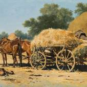 August X. K. Ritter von Pettenkofen  Ungarischer Getreidewagen, 1857 Öl auf Holz, 29,5 x 47 cm  Schätzpreis:18.000 - 27.000 EUR