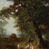 """Ebert, Carl Stuttgart 1821 - 1885 München, Landschafts- und Genremaler, Schüler der Stuttgarter Kunstschule, ging 1846 nach München. """"Badende Kinder in einem Teich am Waldrand"""",  Mindestpreis:8.000 EUR"""