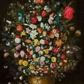 """Jan Brueghel d.J. (1601 – Antwerpen – 1678) """"Großer Blumenstrauß mit Kaiserkrone im Holzbottich"""". Um 1625/30 Schätzpreis:800.000 - 1.200.000 EUR"""