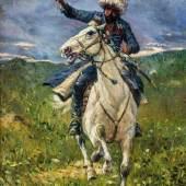 Franz Aleksejewitsch Roubaud 1856 Odessa - 1928 München Kaukasischer Reiter. Schätzpreis:6.000 - 8.000 EUR